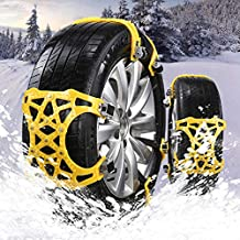 UPEOR Anti-Skid Snow Chains Snow Tire Traction Chain Adjustable for Car/SUV/Trucks-for Universal Tire Width 165-275mm/6.4-10.9'' (Yellow)-Set of 6