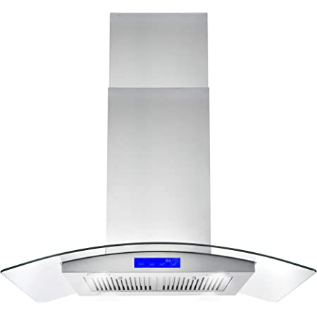 Island Range Hood 36 Inch 700 Cfm Ceiling Mount Kitchen Stove Hood Ducted With Tempered Glass 4 Led Lights Touch Control 3 Speed Fan Permanent Filters Tieasy Appliances