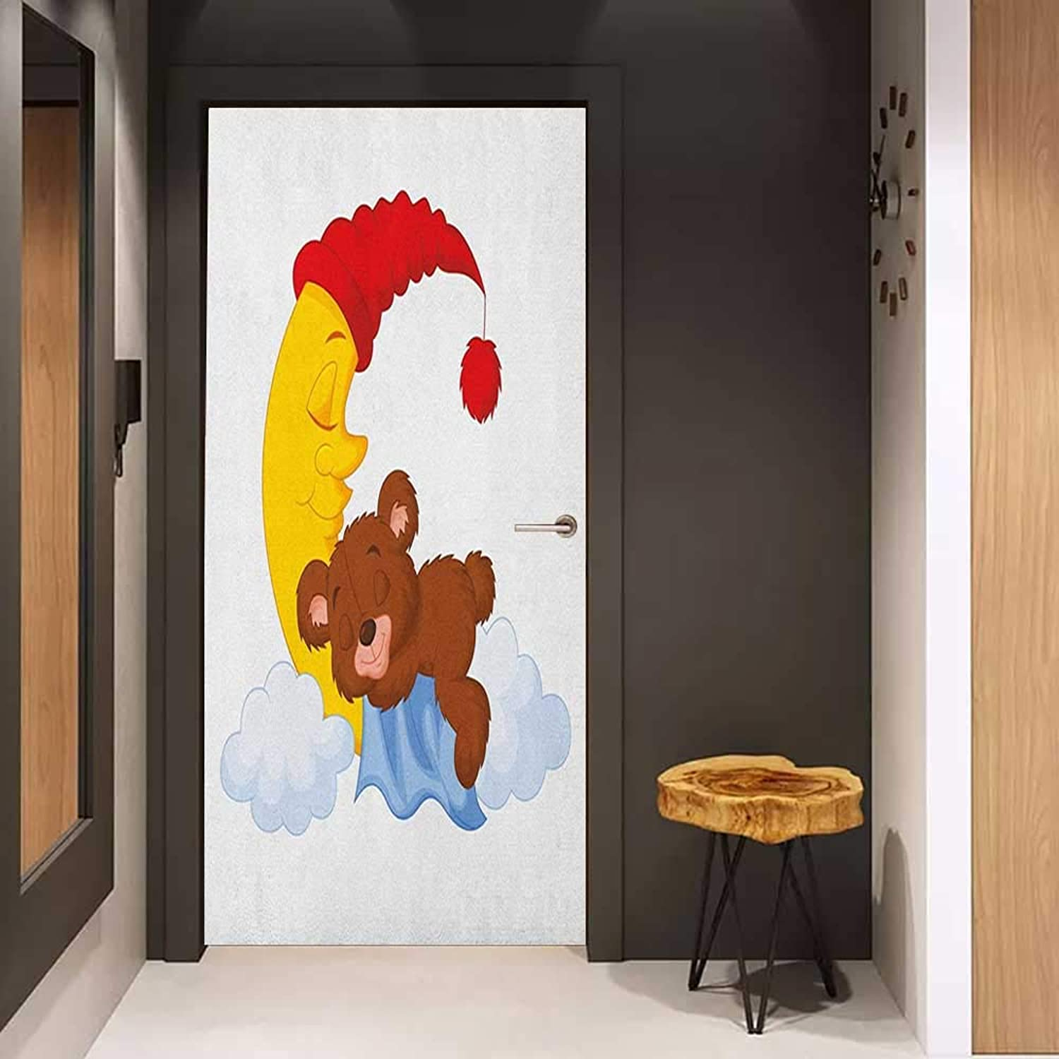 Onefzc Wood Door Sticker Bear Adorable Cartoon for Kids Cute Baby Character Falls Asleep on Moon with Hat and Clouds EasytoClean, Durable W23 x H70 Multicolor