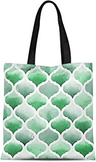 Semtomn Canvas Tote Bag Abstract Morrocan of Green Colors on Watercolor Lush Meadow Durable Reusable Shopping Shoulder Grocery Bag