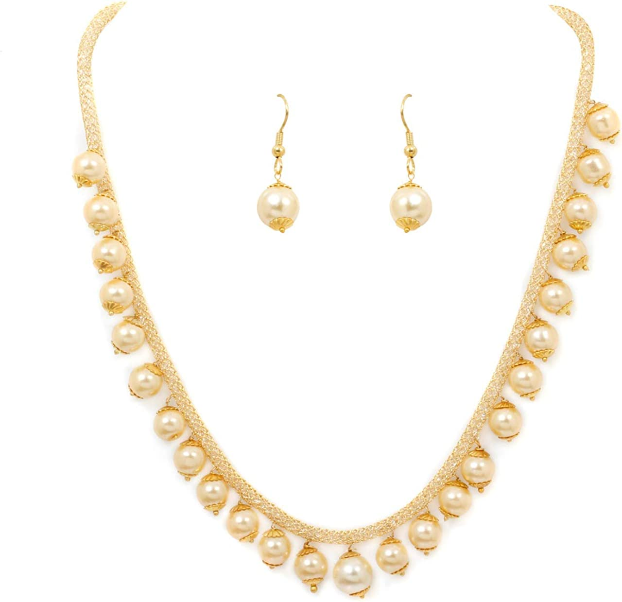 SANARA Indian Traditional Bollywood Pearl Drop Vintage Necklace Earring Set Women & Girl's Party Wear Fashionable Jewelry
