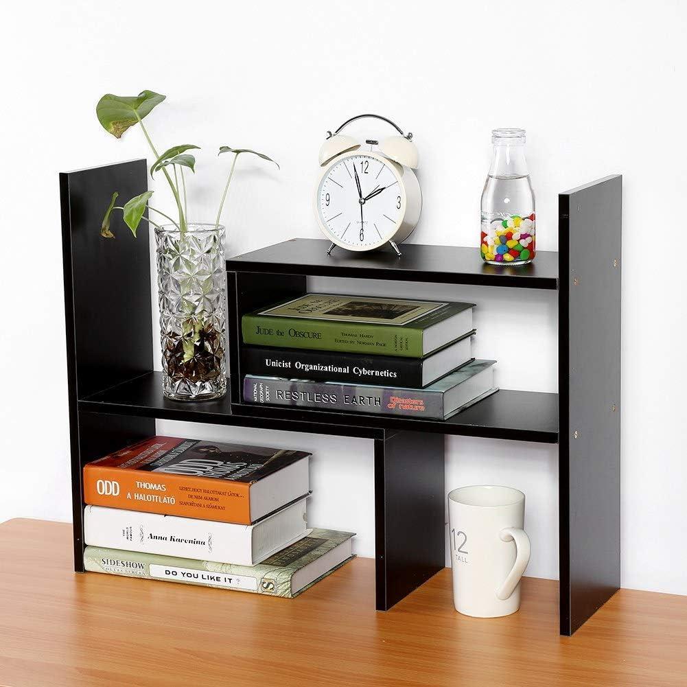 Wood Adjustable Desktop Storage Organizer,Expandable Desktop Bookshelf,Counter Storage Rack,Free Style Rotation Display,Office Supplies Desk Organizer,Multipurpose Rack Office,Bathroom,Kitchen (Black)