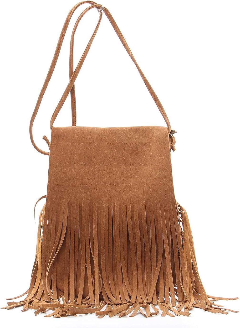 Fringe Tassel Crossbody Bag - Women's Handbag PU Leather Hobo Shoulder Bag Fringe Tote purse Messenger Bag