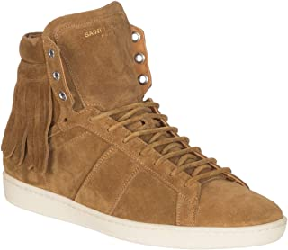 Saint Laurent Men's Camel Brown Suede High Top Fringed Sneakers Shoes