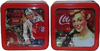 Retro Coca-Cola Galvanized Tin Box with Window Pair