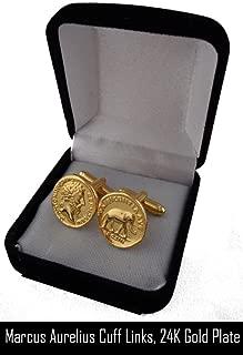 Golden Artifacts Roman Coins, Marcus Aurelius, Philosopher King, Coin Cuff Links, Roman Empire (# 26CUFF-G)