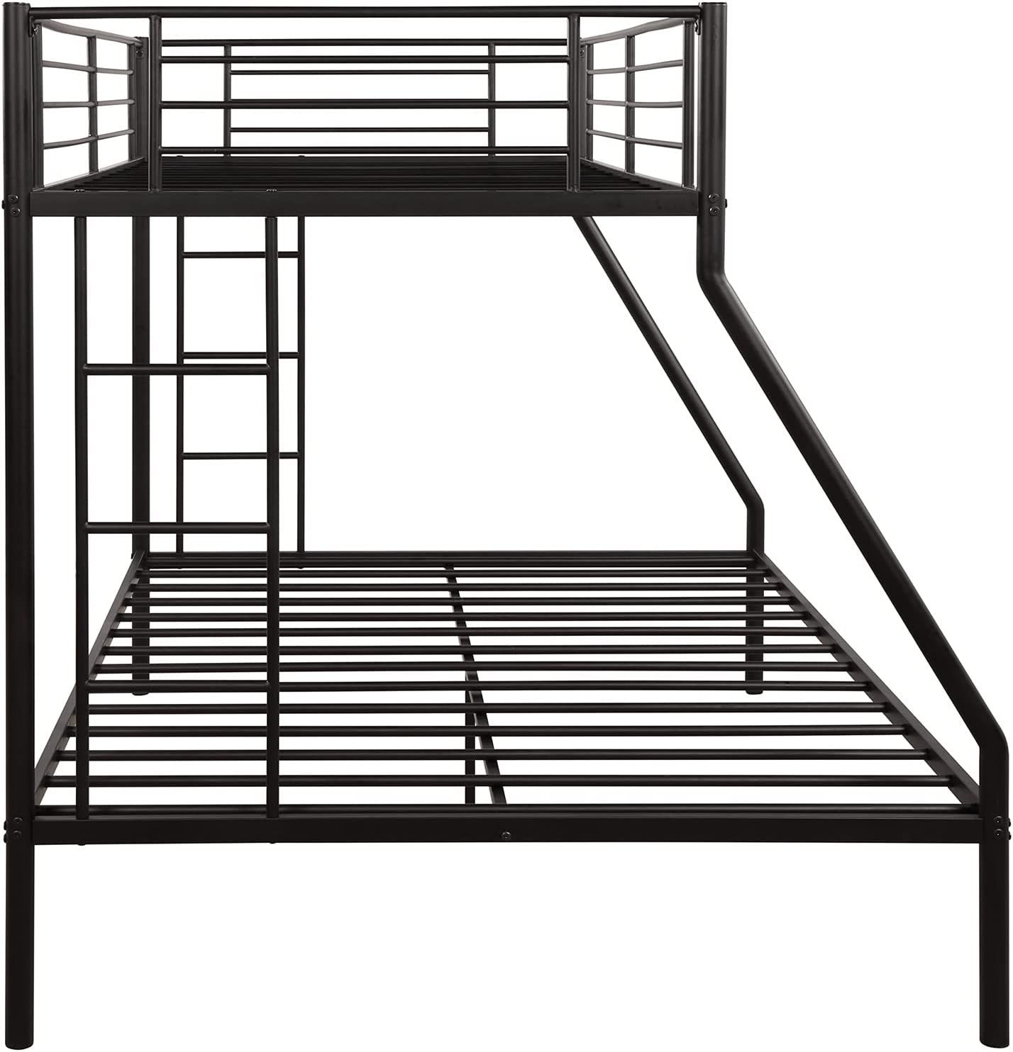 Buy Metal Bunk Beds Twin Over Full Bunk Bed For Kids Thicken Metal Bunk Bed Frame With Ladder And Guard Rail For Children Boys Girls And Adults Black Online In Indonesia B08xqh3rd4