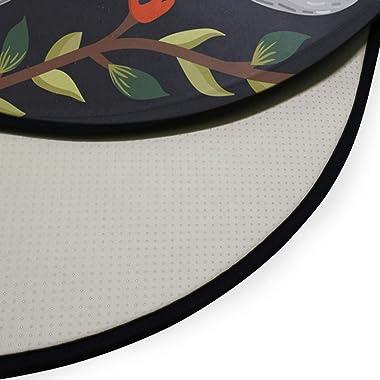 TropicalLife XIXIKO Tapis rond antidérapant pour chambre d'enfant Motif fleurs pastèques Motif animaux paresseux Tapis de