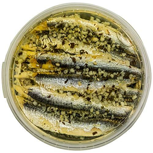 Food-United Fisch – SARDELLENFILETS mit KNOBLAUCH & PETERSILIE 280g in Sonnenblumen-Öl für Pizza-Pasta-Nudeln-Antipasti-Tapas kaltgegart saftig-zart bissfest leicht gesalzen