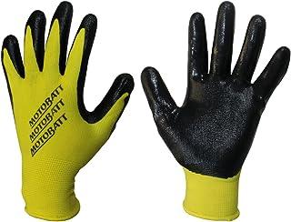 MotoBatt Technician Gloves with Nitrile Coated Palm (Yellow, Medium)