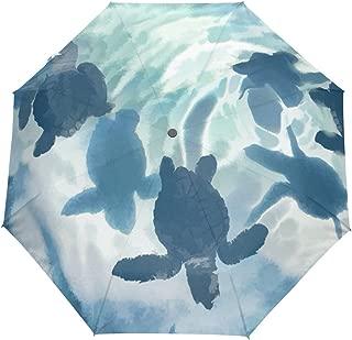 Sea Turtle Ink Painting Auto Open Close Foldable Windproof Travel Umbrella