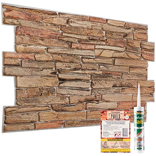 Decorative Wall Panels Sand Rock Stone Brick Slate 3D Effect - 10 Sheets | 4.9 sqm | 52.53 sqft PVC Plastic Cladding Panelling