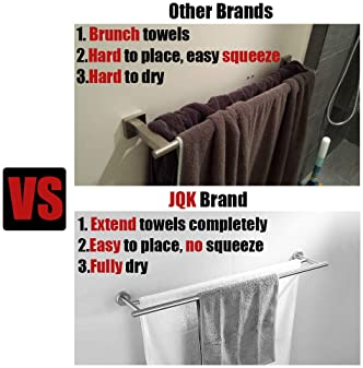 JQK Double Bath Towel Bar, 30 Inch Stainless Steel Towel Rack for Bathroom, Towel Holder Brushed Finished Wall Mount,...