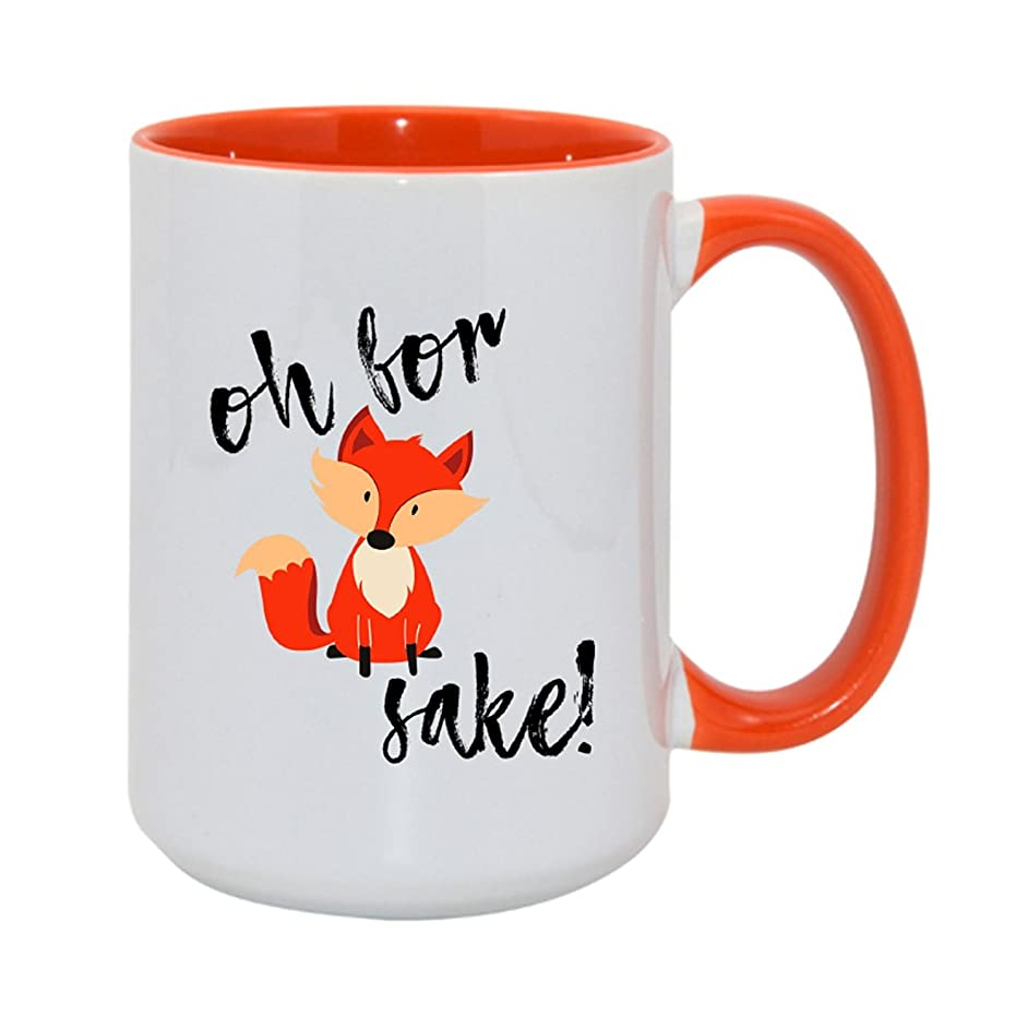 Unique Oh For Fox Sake Coffee Mug with Optional Personalized Name! The Cutest, Funniest, and Perfect Gift for Anyone! Available in 11oz or 15oz! (15oz, No Personalization)