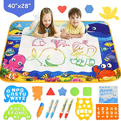 MIXI Aqua Magic Mat, Kids Toys Extra Large Doodle Mat Painting Board, Water Drawing Mat for Toddlers with Doodle Pen, Educational Toys for Age 1 2 3 4 5 6 7 8 9 10 Year Old Girls Boys Age Toddler Gift
