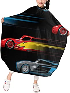 Speed Cars Barber Cape For Kids Salon Hairdresser Apron Cloth Water Resistant Hairdressing Capes Hair Cutting Styling Barb...