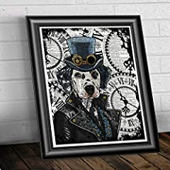 Steampunk Dalmatian art print, Dog Home Decor on antique dictionary book page #2