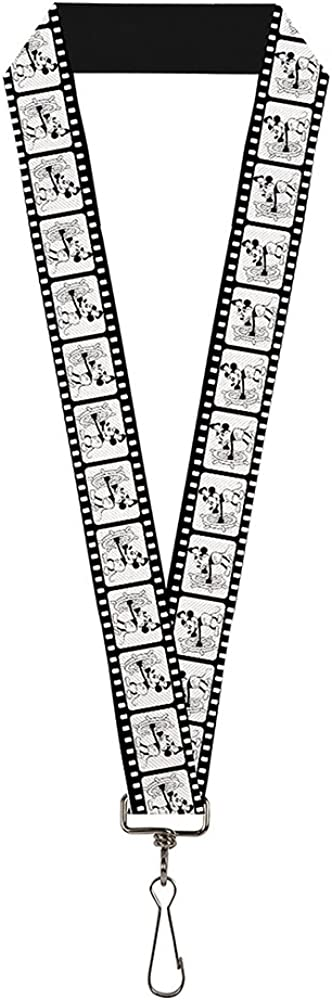 Buckle Down Lanyard-1.0-Steamboat Willie Scenes Los Angeles Mall White 40% OFF Cheap Sale Strip Film