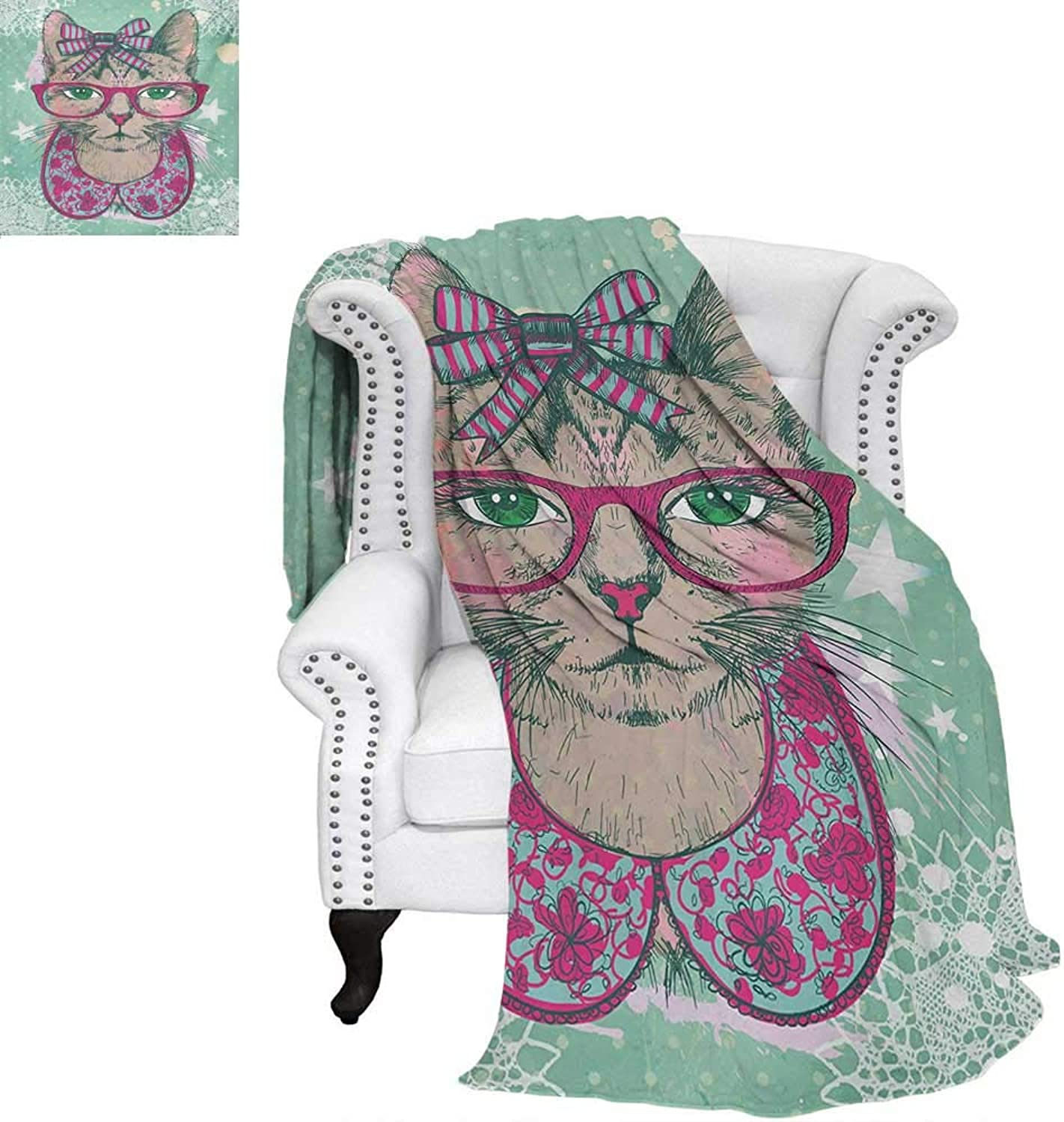 Warmfamily Cat Velvet Plush Throw Blanket Fashion Cat in Hipster Glasses and Lace Collarette Bow Vintage Humgoldus Graphic Throw Blanket 60 x50  Pink Mint Green