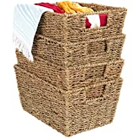 4-Pack BCP Stackable Seagrass Storage Basket Rustic Set