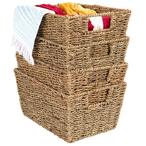 Best Choice Products Rustic Set Of 4 Multipurpose Stackable Seagrass Storage Basket, Handwoven Rectangular Laundry Organizer Totes for Bedroom, Living Room, Bathroom, Shelves, Pantry w/Insert Handles