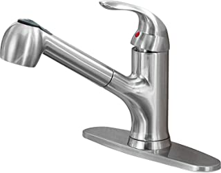 Hotis Modern Stainless Steel Single Handle Prep Sprayer Pull Out Brushed Nickel Kitchen Faucet, Kitchen Sink Faucet with Deck Plate …