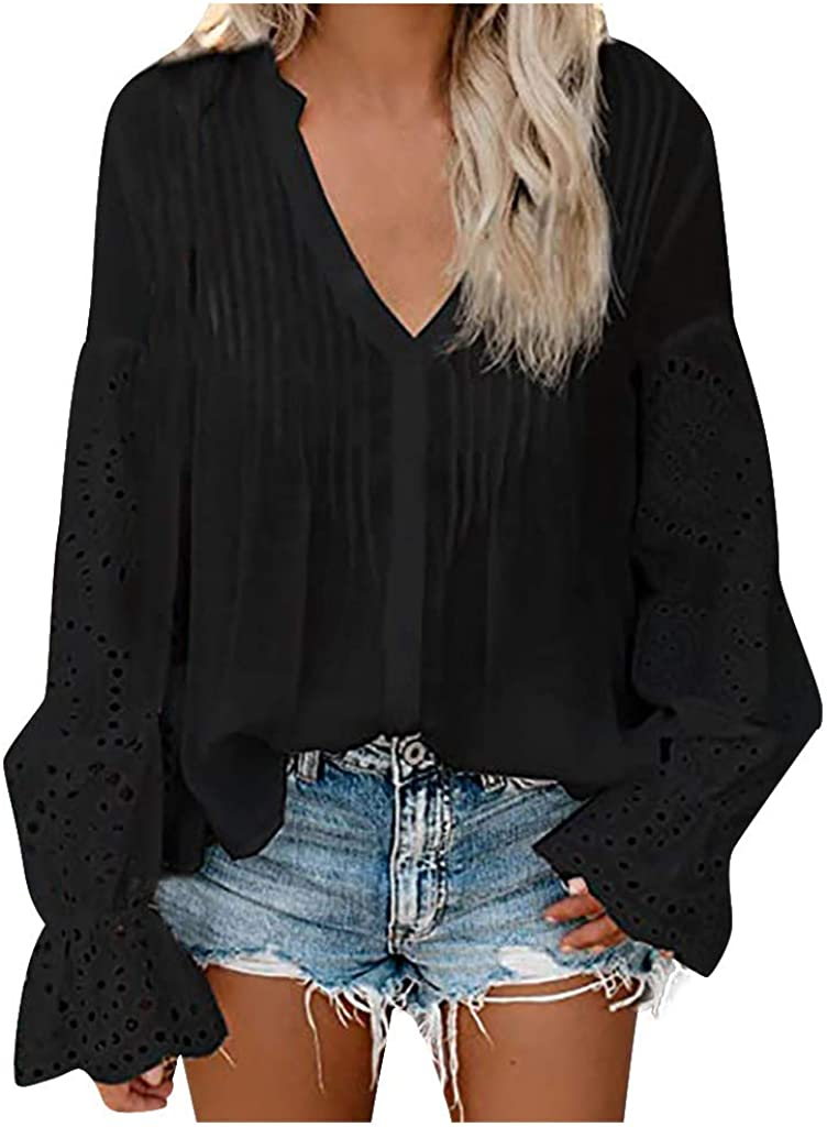 Eoailr Women's Lace Crochet V Neck 3/4 Sleeve Button Down Blouses Casual Shirts Tops Ruffle Long Sleeve Loose Fitting Tunic