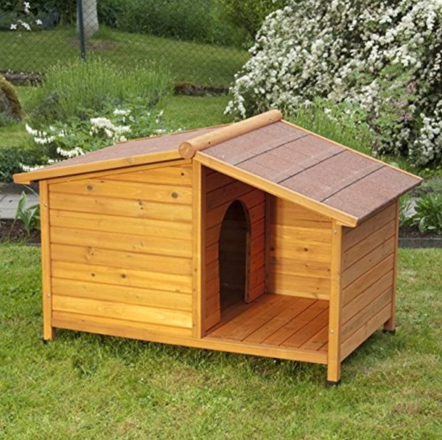 Oiled Fir Wood 4 Season Dog Kennel  with Sheltered Patio  Ideal Kennel to Keep your Four Legged Friend Predected From All the Elements (L  132 cm x 85 cm x 86 cm L x W x H)