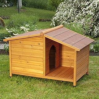 Cuccia per cani in legno di abete oliato per 4 stagioni, con patio riparato, ideale per tenere il vostro amico a quattro z...
