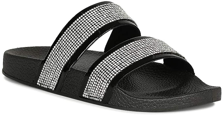 Alrisco Women Open Toe Rhinestone Embellished Footbed Slide Sandal RF18 - Black Patent (Size: 6.0)