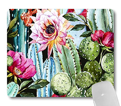 Wknoon Cactus Flowers Mouse Pad, Vintage Watercolor Green Cacti Pink Floral Nature Mouse Pads Cute Mat