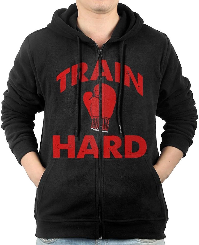 Train Hard Sweater Shirt Zipper Jacket Sports Hooded Sweatshirt For Mens Fit Jogging Black