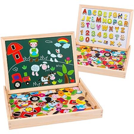 Uping Puzzle de Madera Magnético Tablero de Dibujo de Doble Cara Magnético 155 Piezas Avec Número y Alfabeto para niños de 3 años+