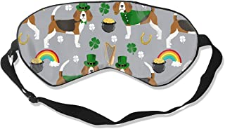 Beagle Leprechaun St. Patrick's Day Dog Breed Grey Silk Sleep Mask Comfortable Blindfold Eye mask Adjustable for Men, Women or Kids