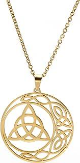 Cooltime الفولاذ المقاوم للصدأ الأيرلندية سلتيك عقد قلادة قلادة أقراط خمر ريترو مثلث الحظ الجيد مجوهرات للنساء