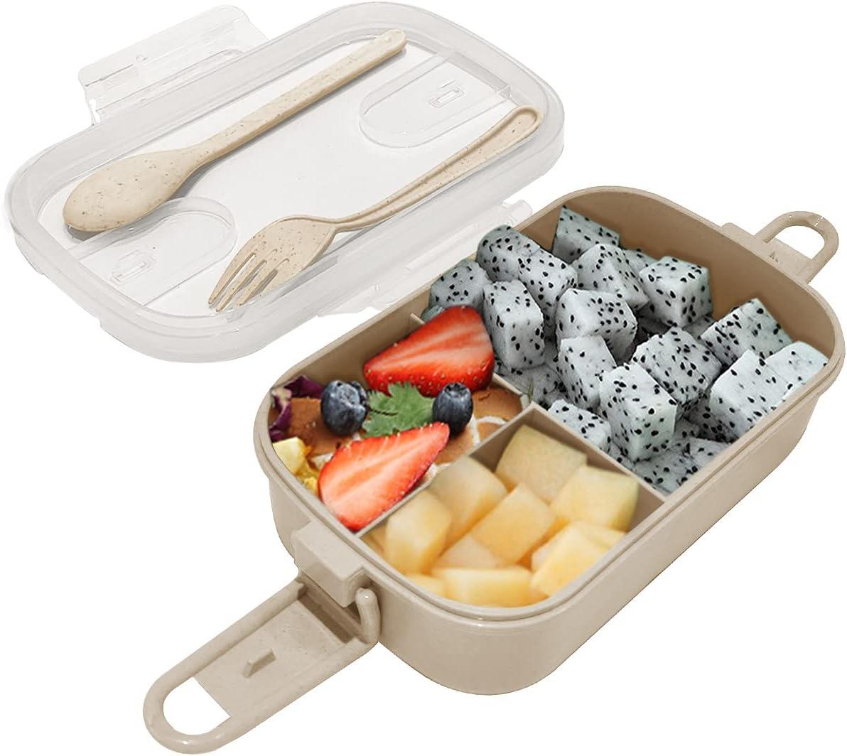Dolinvo Fiambrera de Oficina para Niños Adultos con 3 Compartimentos y Fiambreras con Cubertería Ecológica Personalizada Microondas y Lavavajillas Reutilizable (Marrón1000ml)