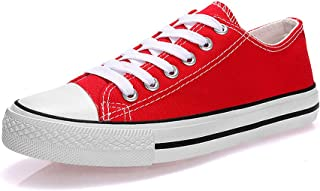 KUNSHOP Unisex Canvas Fashion Lace up Sneakers Casual Low Tops Shoes for Women Men Red Size: 8
