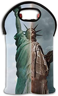 YYH Wine Tote Carrier Bag Statue of Liberty Creative Purse for Champagne,Water Bottles