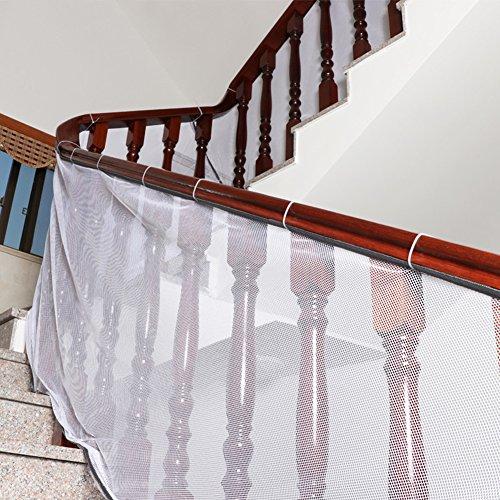 Hangnuo Sicherheitsnetz für Treppengeländer, 3 m lang, für Babys und Haustiere - Für Innen-/Außenbereiche, Balkons, mühelos anzubringen