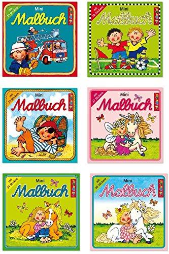 Lutz Mauder - Malbuchset mit 6 Mini-Malbüchern inkl. Stickern - 3 Mädchen- und 3 Jungenmotive