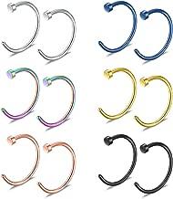 Ruifan Stainless Steel Body Jewelry Piercing Earrings Nose Hoop Ring Unisex 22 Gauge 6mm 8mm 10mm