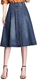 Nantersan Womens Button Front Midi Denim Jean Skirts High Waist A-Line Flare Pleated Chic Skirt
