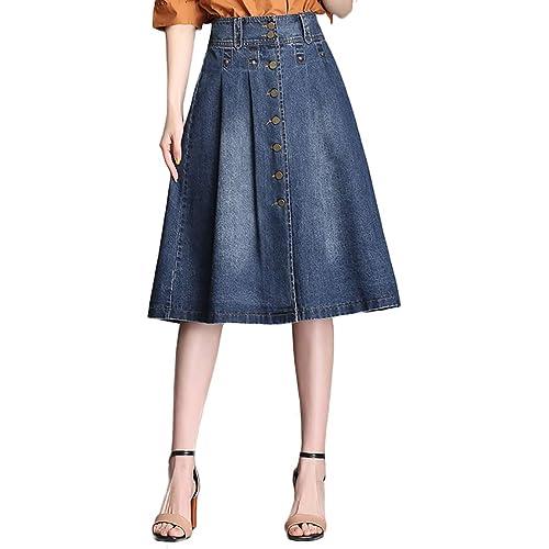 f697b64cf4e Nantersan Womens Button Front Midi Denim Jean Skirts High Waist A-Line  Flare Pleated Chic