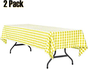 Plastic Tablecloth Disposable Checkered Table Cover Extra Thick 54