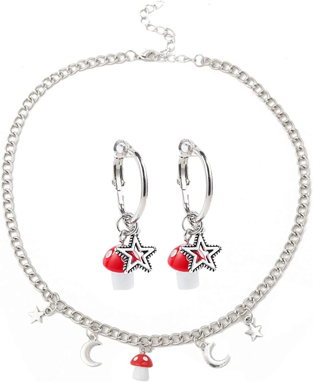 COLORFUL BLING Star Moon Mushroom Necklace Earrings Set Funny 3D Vegetable Pendant Necklace Earrings for Women Girls
