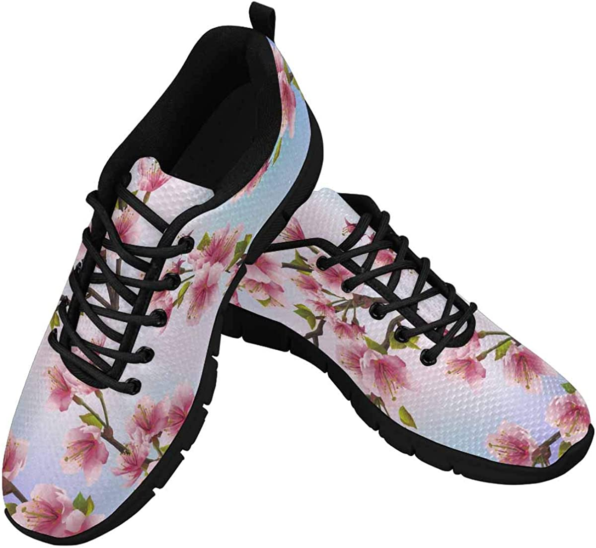 InterestPrint Cherry Blossoms Tree Women's Athletic Walking Shoes Casual Mesh Comfortable Work Sneakers