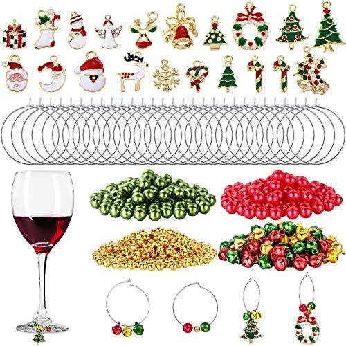 670 Stück Weihnachten Weinglas Charme Sortiert Emaille Charm Anhänger Weinglas Charm Ringe Weihnachten Glocken Gold Perle Rot Grün Perle für Weihnachten Weinglas Marker DIY Herstellung Schmuck