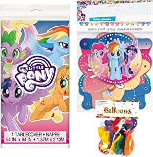 My Little Pony Themed Party Decorations – Includes Party Banner,Tablecloth and Ten 12