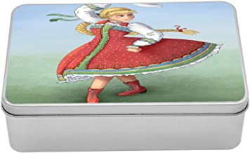 Ambesonne Russian Metal Box, Slavic Girl in Traditional Clothing National Dance, Multi-Purpose Rectangular Tin Box Container with Lid, 7.2