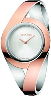 Calvin Klein Sensual Silver Dial Ladies Two Tone Medium Bangle Watch K8E2M1Z6